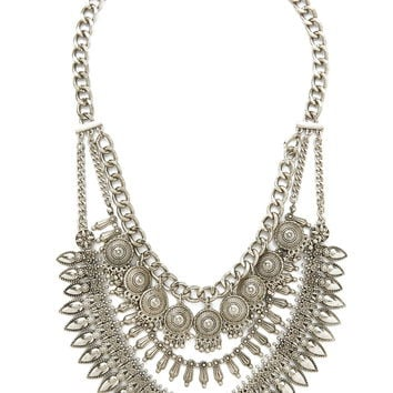 Etched Charms Statement Necklace
