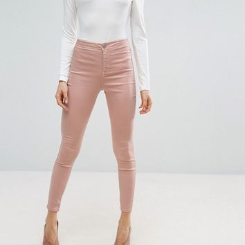 ASOS RIVINGTON High Waist Denim Jeggings in Washed Pink at asos.com