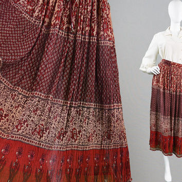 Vintage 70s Indian Cotton Skirt Indian Gauze Skirt Boho Crinkle Skirt Sheer Skirt Indian Skirt Made in India 1970s Hippy Skirt Block Print