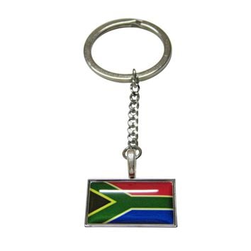 Thin Bordered South Africa Flag Pendant Keychain