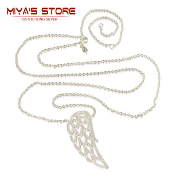 925 sterling silver angel wing necklaces with clear cz adjustable size 70 80 90cm silver trendy long necklaces women yl010