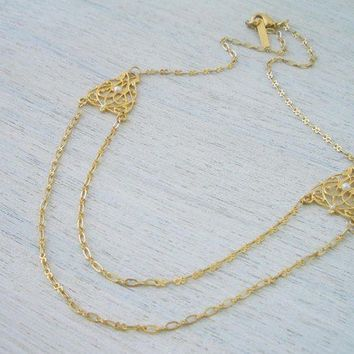 Symmetrical Lace Element Necklace in Matte Gold by shlomitofir