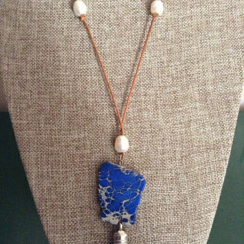 Leather And Freshwater Pearls With Blue Sea Sediment Jasper Stone Slab Pendant And Silver Tone White Tassel Pendant Leather Tassel Necklace