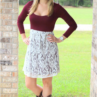 """Southern Grace"" Dress Burgundy/ivory"