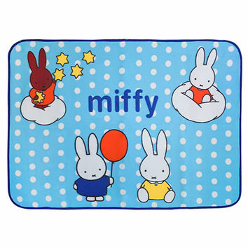 Miffy Blue Coral Fleece Baby Throw Blanket in 28.7 by 39.4 inches
