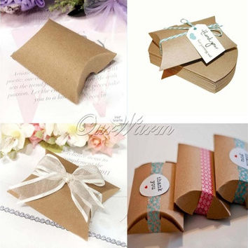 50Pieces/lot New Style Kraft Pillow Shape Wedding Favor Gift  Box ,Party Candy Box (Color: Khaki) [7981850439]