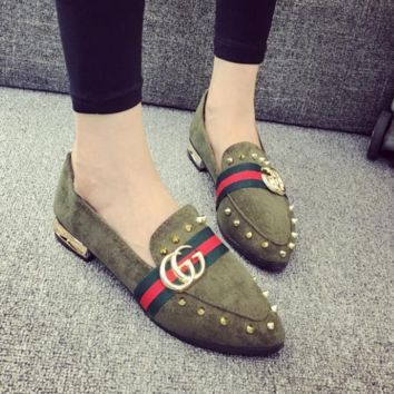 GUCCI autumn new wild rivets shallow mouth flat peas shoes fashion pointed casual shoes Army green