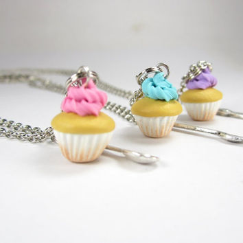 BFF Cupcake Necklace Friendship Necklace 3pcs by fwirl on Etsy
