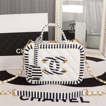 HCXX 19June 489 Zebra pattern cosmetic bag Fashion Handbag 21-16-10 black white
