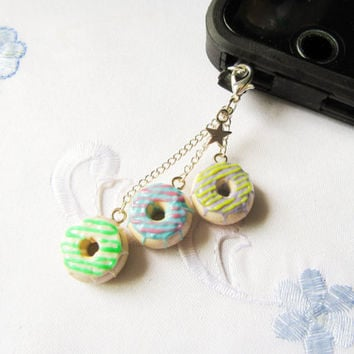 Donut / Doughnut Phone Charm, Dust Plug, Kawaii, Cute, Food Charm, Dessert, iPod Charm, iPhone Charm, Android Charm