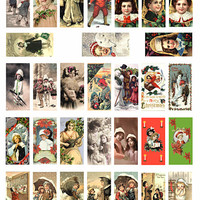 domino collage sheet vintage children of christmas art clipart digital download graphics 1 x 2 inch images for pendants printables DIY