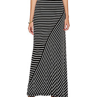M.S.S.P. Nautical Stripe-Print Maxi Skirt - Black/Ivory