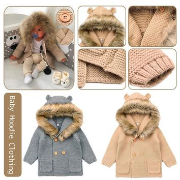 Winter Fashionable Sweaters For Baby Cardigans Autumn Hooded Newborn Knitted Jackets Cartoon Bear Children Long Sleeve Clothing