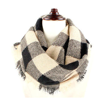 Womens Beige & Black Buffalo Plaid Woven Infinity Scarf with Frayed Edges