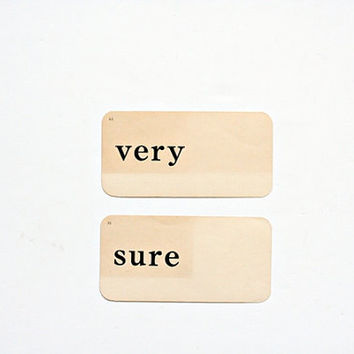 Vintage 1949 Word Flash Cards  Very Sure  No. 63 by msjeannieology