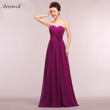 Purple Long Chiffon Bridesmaid Dresses Cheap New Strapless Off the Shoulder Sleeveless A-Line Formal Women Party Prom Dress
