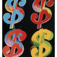 Four Dollar Signs, c.1982 (blue, red, orange, yellow) Art Print by Andy Warhol at Art.com