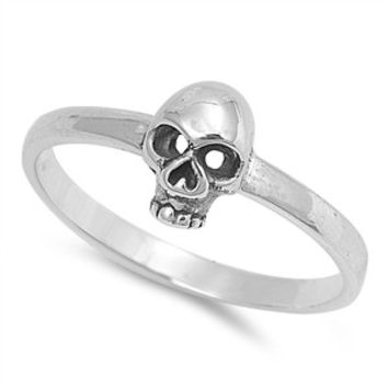 925 Sterling Silver Classic Solitaire Skull 8MM Ring