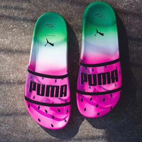 Puma x Sophia Webster Jelly Transparent Fruit Watermelon Slippers B-CSXY Sandal Rose red/Green