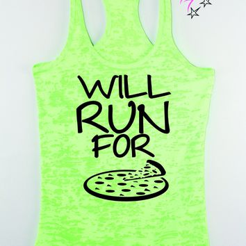 Will Run For Pizza Running Racerback Tank