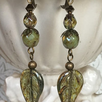 Green Crystal Leaf Dangle Earrings Antiqued Brass Boho Earrings Picasso Beaded Handmade Earrings
