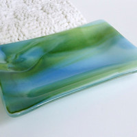 Rectangular Dish in Streaky White Blue and Green by bprdesigns