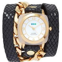 Women's La Mer Collections 'Malibu' Leather & Chain Wrap Watch, 38mm - Black/ Gold (Nordstrom Online Exclusive)