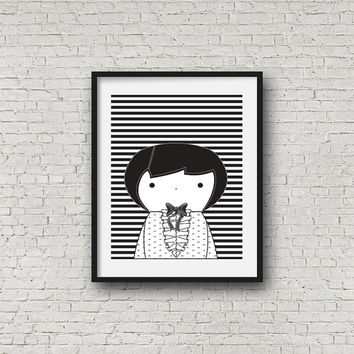 Nursery Wall Art, Scarlett Black and White printable baby room decor