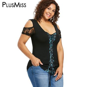 PlusMiss Plus Size 5XL XXXXL XXXL Sexy Lace Crochet Tunic Tops Women Big Size Vintage Cold Shoulder Lace Up Blouse Ladies Club