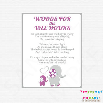 Purple and Gray Elephant Baby Shower Games, Late Night Diapers, Words for the Wee Hours, Diaper Game Sign, Printable Baby Shower, ELPG