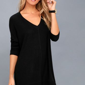 Estes Park Black Long Sleeve Sweater Dress