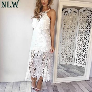 NLW White Summer Party Dress Crochet Embroidery Elegant Women Robe Dress Girl Female V Neck Strap Maxi Long Dress Vestidos