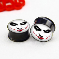 Pairs  men with smile   ear   plugs ,Tunnel  Gauge Body Jewelry  ,Black  Titanium ear plugs, screw on ear plugs,0g,00g ,2g  plugs gauges,