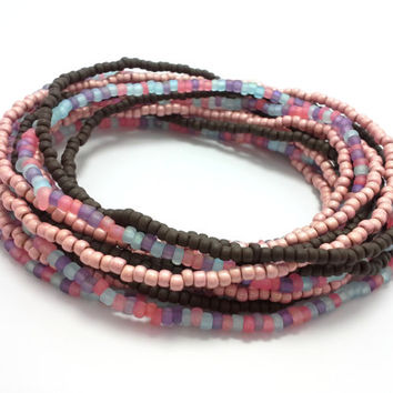 Seed bead wrap stretch bracelets, stacking, beaded, boho anklet, bohemian, stretchy stackable multi strand, brown pink coral blue purple