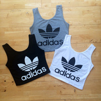 Adidas style vest tank crop top shirt black white or grey