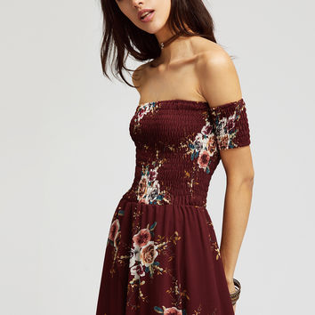 Burgundy Off Shoulder Shirred Overlap Asymmetrical Dress