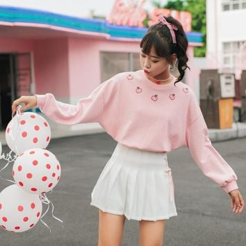 Kawaii Peach Embroidery Long Sleeve Shirt
