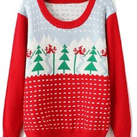 Holiday Hottie Red White Grey Green Long Sleeve Scoop Neck Christmas Tree Pullover Sweater