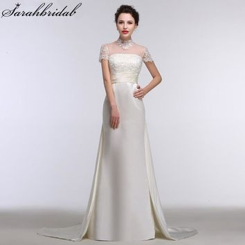 Sexy Sheer High Neck Mermaid Wedding Dresses Sequins Pearls Short Sleeves Satin Bridal Gown Real Sample Vestido De Noiva GT01