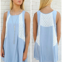 Ocean Air Light Blue A-Line Crochet Lace Detail Dress