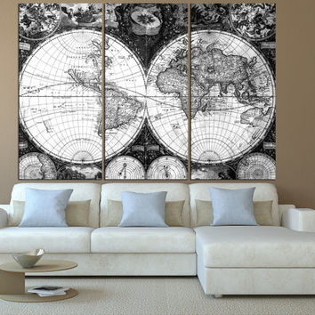 Antique world map wall art on canvas print, Large wall Art, vintage World Map canvas, extra large wall art, map of the world wall decor t513