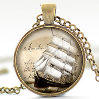 Ship Sailing Necklace, Nautical Jewelry, Mariner Charm, Boat Sailing on the Ocean Pendant (911)