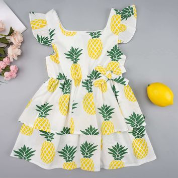 Toddler Girls Pineapple Print Tiered Layer A-line Dress