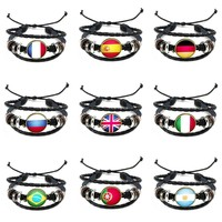 World Cup Silver Tibetan Connector Charm Adjustable Leather Cuff Bracelets Flag Punk Friendship Jewelry