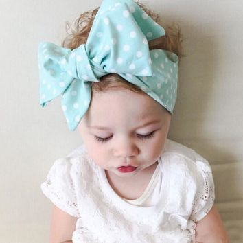 NEW Baby Kid/Girl Turban Knot Headband Big Bow Adjustable Solid Rabbit Head Wrap Hair Band Accessories