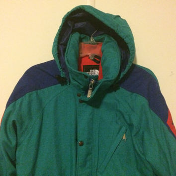Sale!! EUC Vintage 80s The North Face Extreme Hooded windbreaker Jacket TNF Gore Tex fabric Coat Made in USA Outdoor Ski wear Size Medium