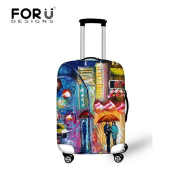 FORUDEASIGNS Travel Luggage Protective Dust Covers for Suitcase Landscape Oil Painting Elastic Cover To 18-30 Inch Trunk Case