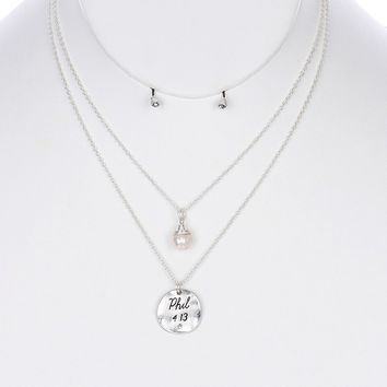 Hammered  Scripture  Philippians 4:13 Pearl Double Layer Necklace Earring Set