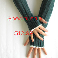 Special Sale-Extra long Knitted Arm Warmers in Jungle Green- Fingerless Gloves- Arm Warmers- Womens Gloves.