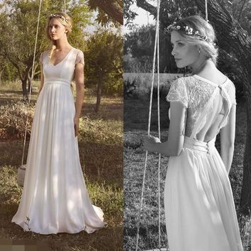 New A-Line V Neck Vintage Beach Wedding Dresses Chiffon Boho Lace Open Back Bridal Gowns